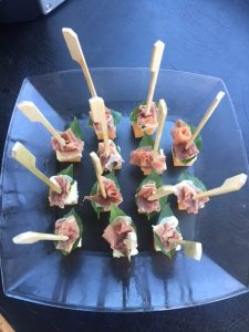 Prosciutto, basil, blue cheese and melon