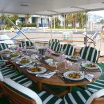 Aft Deck Lunch for 12 on board Motor Yacht Bettina